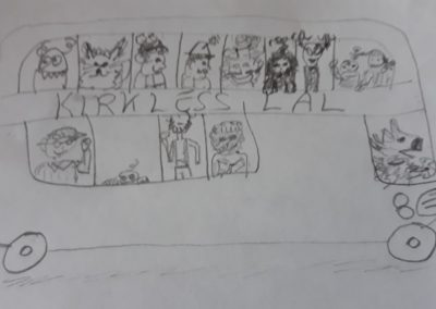 Drawing of bus full of passengers