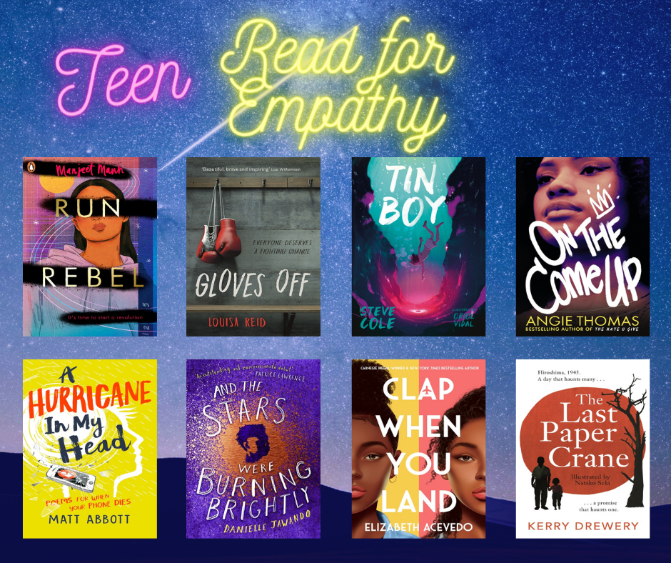 image of books from the teen empathy collection
