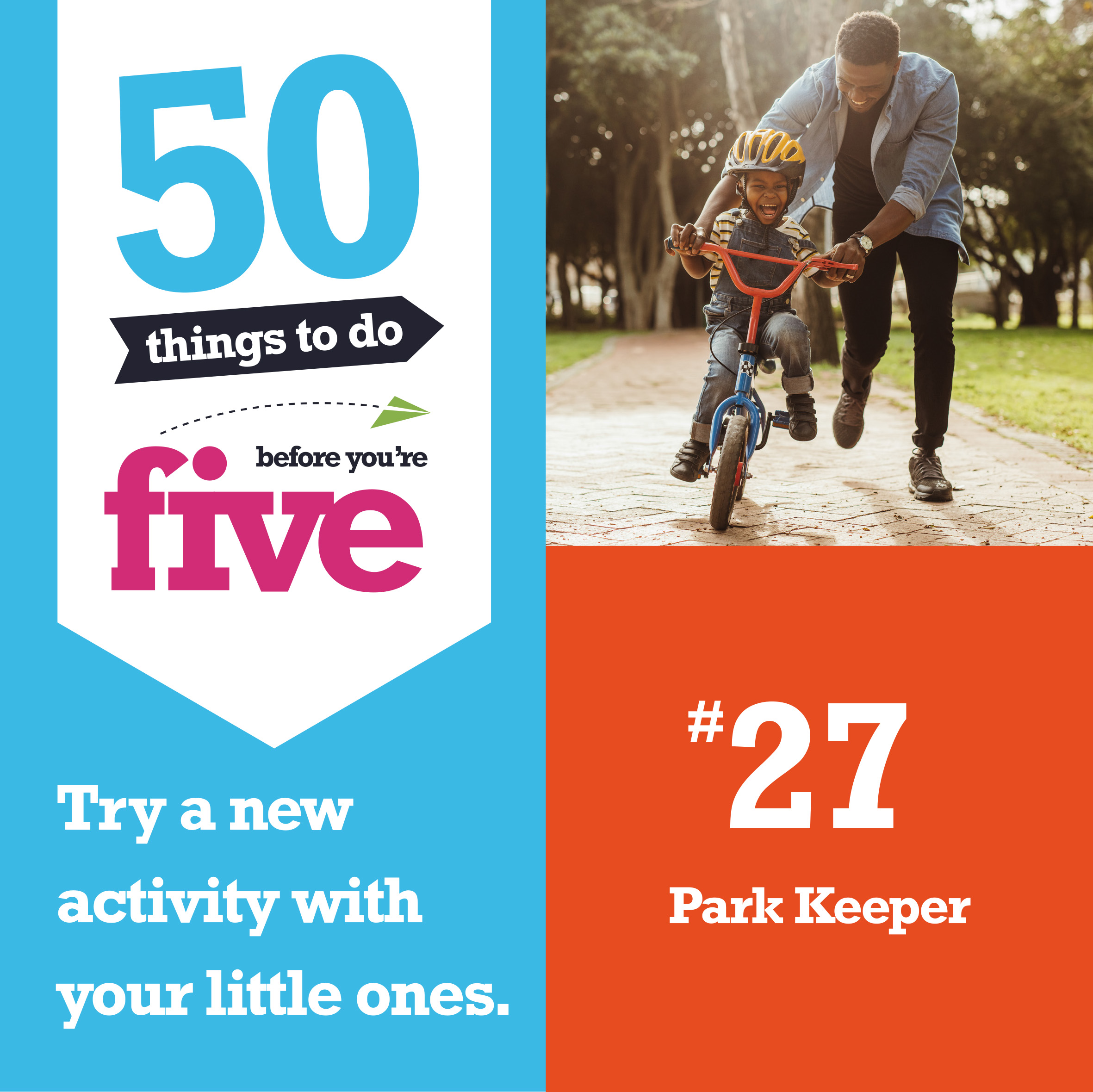 Logo for 50 Things to do before you're 5, number 27 Little People Park Keeper